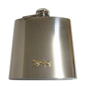Gold Toned Panther Cat Animal Pendant 6oz Flask